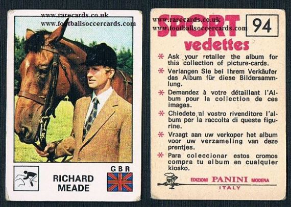 1975 Richard Meade equestrian show jumping horse trials Panini 94 Sport Vedettes